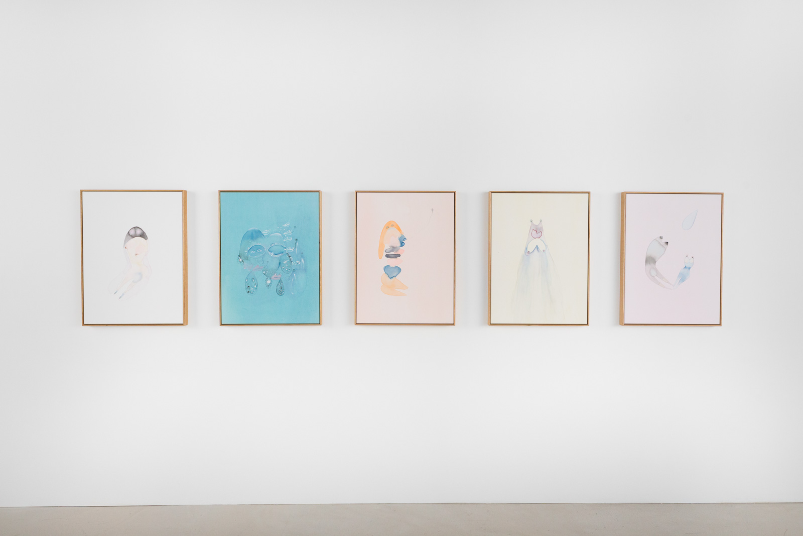 Tara Marynowsky: (5 works pictured from left to right): 'Marshmallow', 'Brain Rain', 'Goldie', 'Rain Man', 'Planet Claire'